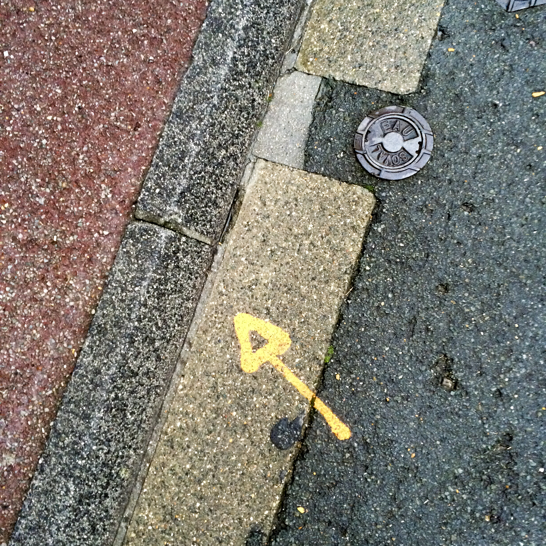 2nd of 6 placeholder images: yellow arrow spraypainted on pavement