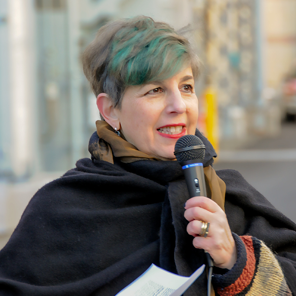 Susan Schear speaking at a public art launch event