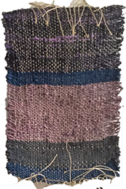 Hand-made weaving in grey, blue and rose colors, by Melissa Hilliard Potter